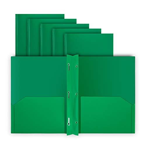 COMIX 2 Pocket Letter Size Poly File Plastics Folders with 3-Prong Fastners - 12 Packs (Green)