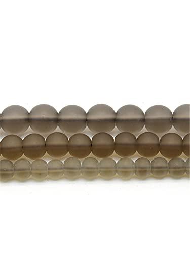 Cuentas de cristal de cuarzo ahumado mate mate mate para hacer joyas DIY pulsera collar 6/8/10/12 mm hebra 15 pulgadas ahumado 10 mm aproximadamente 38 cuentas