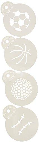 Designer Stencils C219pequeña Bola de Deportes para Cupcakes y Galletas Plantillas (Baloncesto–Golf–fútbol–de béisbol), Beige/Semi-Transparente