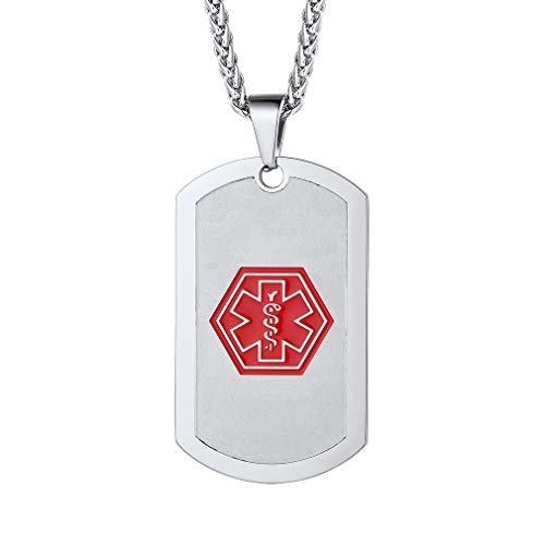 Custom4U Hypoallergenic Dog Tag Chain Real Stainless Steel Military Dog Tags Pendant Personalized ID Necklace Customized Military Dog Tags for Your Best Friend, Medical Alert Dog Tags for Men