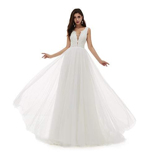 Leyidress Women A-line Wedding Dress Ivory V Neck Neck Beach Wedding Dress Plus Size Bridal Gown Tulle Dresses 8