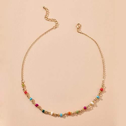 mengnuo Collar de Gargantilla de Piedra de Cristal Colorido Bohemio Tocona para Mujer, Colgante de Metal de aleación de Oro, Cadena Hecha a Mano, Collares de joyería