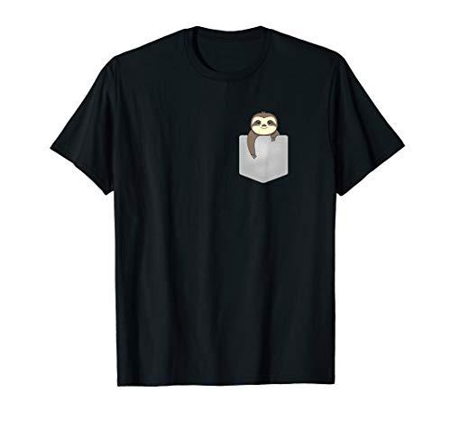 Faultier in der Brusttasche T-Shirt Lustiges Faulenzer Shirt