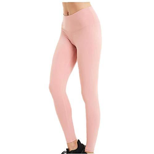 Berrywho Leggings de Yoga Mallas para Correr elásticas Pantalones para Correr clásicos Medias de Entrenamiento para Mujeres Rosa L