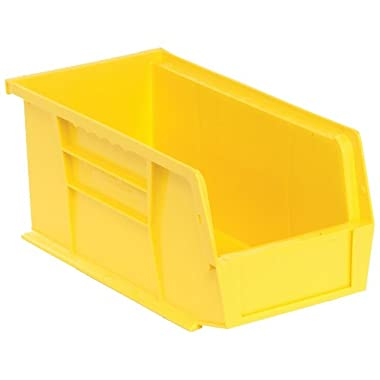 Edsal PB8502Y High Density Stackable Plastic Bin, 5  Width x 5  Height x 11  Depth, Yellow (Pack of 12 )
