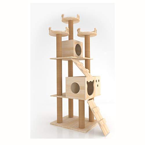 GBY Große Massivholz Katzenklettergerüst Katzenbaum Kratzbaum Katzennest integrierte Katzenvilla, geeignet für den Innenbereich von Katzen, 171 x 60 x 48 cm