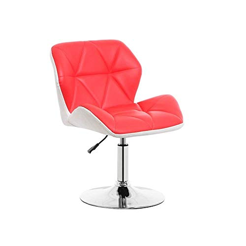 JPL Bar,Cafe,Restaurant Chair,Stylish and Comfortable Breakfast Chair, Rotating Bar Chair, Backrest Pu Chrome Footrest Height Adjustable 40-52Cm, Home Kitchen Counter Bar,Red