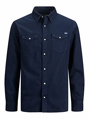 Jack & Jones Jjesheridan Shirt L/S Noos Camisa Vaquera, Azul (Dark Navy Fit: Slim), L para Hombre