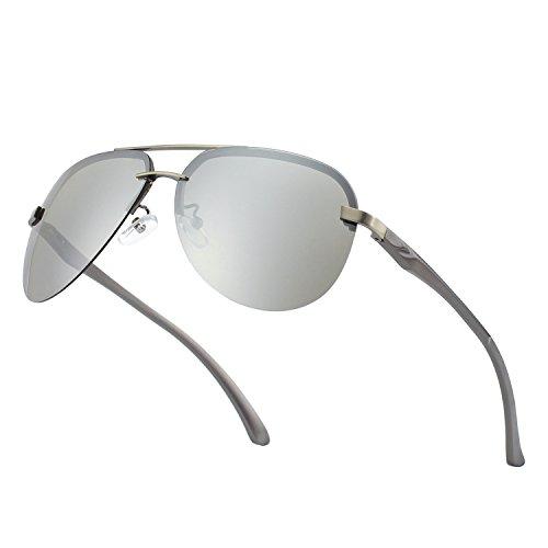CGID GA43 Occhiali da Sole Premium Lega Al-Mg Senza Bordo Pilot Polarizzati UV400, Completamente a Specchio Cardini a Molla Occhiali da Sole per Uomo Donna