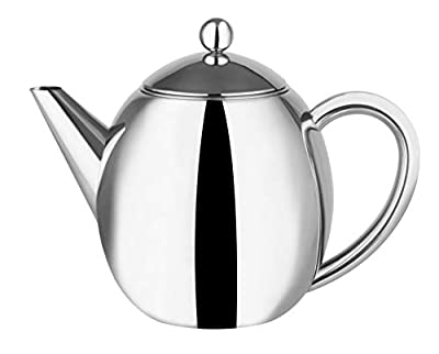 1.2L Double Walled Insulated Polished Stainless Steel Teapot with Infusing Basket