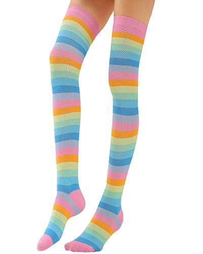 VONDA Damen Streifen kniehohe Socken Oberschenkel Lange Regenbogen Strümpfe A-Rosa One Size