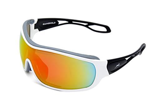 Gamswild WS3332 Sonnenbrille Fahrradbrille Skibrille Damen Herren Unisex | blau | rot | weiß, Farbe: Weiß