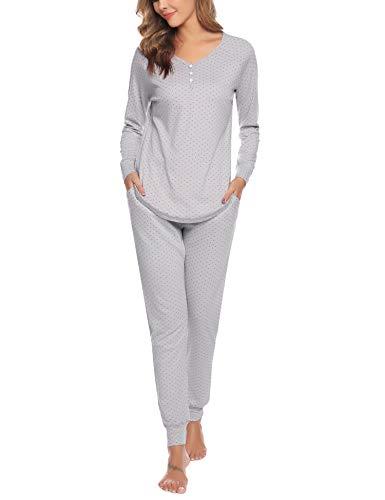 Aibrou Damen Schlafanzug Lang Pyjama Set Zweiteilige Nachtwäsche Hausanzug Sleepwear aus Baumwolle Langarm Rundhalsausschnitt Grau XL