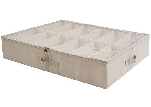 AMX Aufbewahrungsbox für Unterbett Schuhe - Große Organisation Behälter unter dem Bett, zusammenklappbar mit stabilen Trennwänden mit durchsichtigen Kunststoffdeckeln mit Reißverschluss, Beige