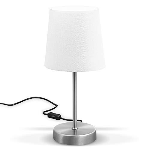 B.K.Licht LED Tischleuchte I Stofflampe weiß, matt-nickel I E14 I Tischlampe I Nachttischlampe mit Schalter I IP20