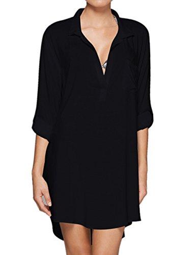 L-Peach dames zomer katoen hemd blouse tuniek zomerjurk strandjurk bikini coverups Beachwear One Size
