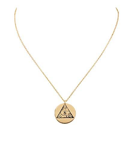 SIX Damenhalskette, Gliederkette, Anhänger, Rund, Prägung, Dreieck, Auge, Gold (758-931)