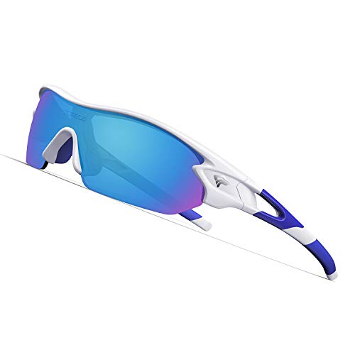 TOREGE Polarized Sports Sunglasses with 3 Interchangeable Lenes for adult Cycling Running Driving Fishing Golf Baseball Glasses TR02 (White&Blue&Blue Lens)