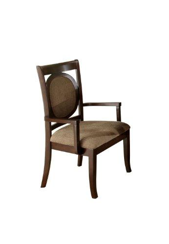 Furniture of America Priam Formal Padded Fabric Arm Chair, Dark Walnut Finish, Set of 2