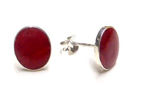 Orecchini a bottoncino in corallo rosso con montatura in argento Sterling 925