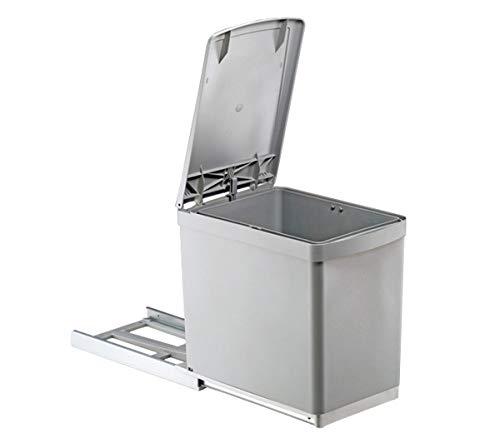 Küchen-Einbau Abfalleimer 1 x 16 Liter Handauszug mit automatischem Deckelhebel Schrankbreite ab 30 cm