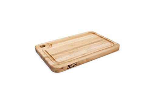 John Boos Block MPL1812125-FH-GRV Prestige Maple Wood Edge Grain Reversible Cutting Board with Juice Groove, 18 Inches x 12 Inches x 1.25 Inches