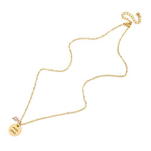 Halskette Stern Sternzeichen 12 Sternbild Anhänger Halsketten für Frauen Männer Steinbock Leo Skorpion Edelstahl-11-Wassermann