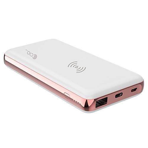 MB-18W-QIQCPD モバイルバッテリー iPhone USB PD Galaxy QC3.0 Qi ワイヤレス充電 10W 7.5W 急速充電 大容量10000mAh 軽量 タイプC USB-C Type-C Android Xperia Galaxy Huawei アイフォン (ピンクゴールド×ホワイト)