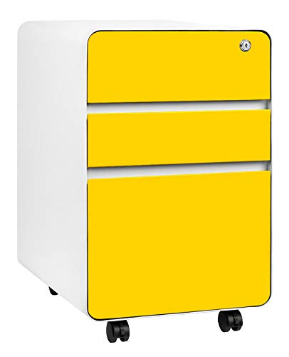 Stockpile Flat 3-Drawer Mobile File Cabinet, Commercial-Grade, Modern (Yellow)