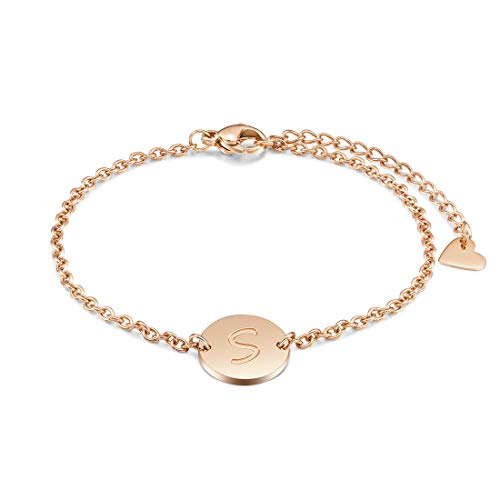 THREE KEYS JEWELRY S Initial Bracelet Girl Dainty Rose Gold Simple Alphabet Custom Circle Heart Initial Bracelet Coin Pendant Disc Stainless Steel Initial Charm Bracelet for Girls