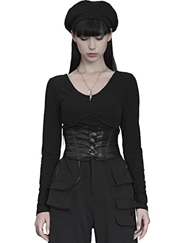 Punk Rave Frauen Gothic Dark Black Sharp Angle Taille Siegel Punk Neuheit Verband PU Gürtel Heizungsfunktion Performance Party Kostüm M