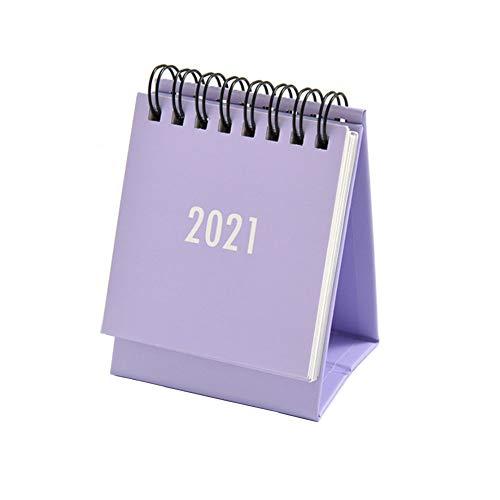 Mini Desk Calendar, Oct 2020 to Dec 2021 Standing Flip Calendar, for Daily Monthly Scheduler, Desktop Calendar for School, Home, Office,Purple