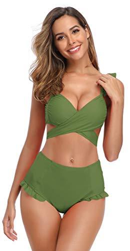SHEKINI Damen Volant Bikini Set V-Ausschinitt Crossover Oberteil High Waist Hose Bauchweg Bikinis Blumendruck Gepolstert Pads Zweiteiliger Bikini Grosse Grössen für Frauen (Large, Grün)