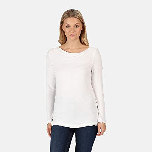 Regatta T- Shirt Manches Longues FRAYLER avec col Boule et Fente sur Le côté à l'ourlet Polos/Vests Femme, White, FR : M (Taille Fabricant : 14)