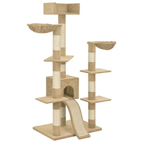 vidaXL Kat Boom met Sisal Krabpalen Ramp Hangmat Platform Kitty Speel Centrum Toren Meubilair Speelhuisgrot Condo Beige 183cm XXL