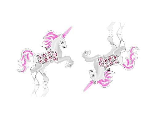 MixiuEuro - Pendientes de tuerca con diseño de unicornio, plata de ley 925, circonitas cúbicas, color rosa