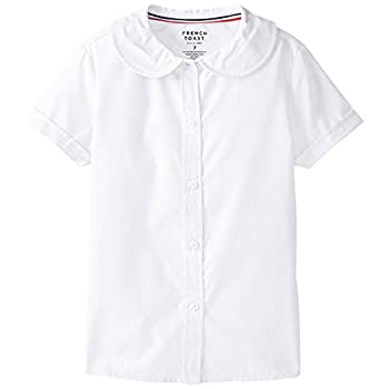 French Toast womens Short Sleeve Peter Pan Collar  Standard & Plus  Blouse White 16 US