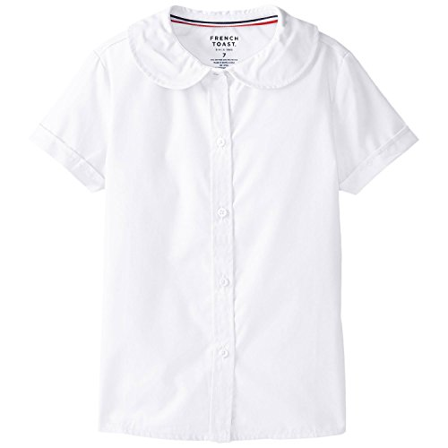 French Toast womens Short Sleeve Peter Pan Collar (Standard & Plus) Blouse, White, 7 US