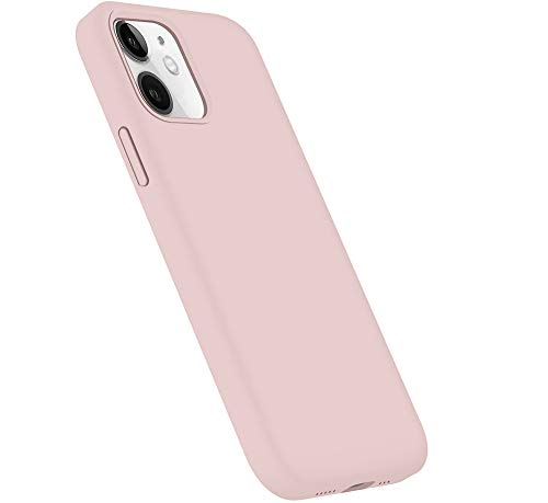 Lopie Liquid Silicone Case Compatible with Phone iPhone 12 / iPhone 12 Pro (6.1') 2020, [Silky Series] Slim Gel Rubber Full Body Protection Shockproof Case Cover, Pink Sand