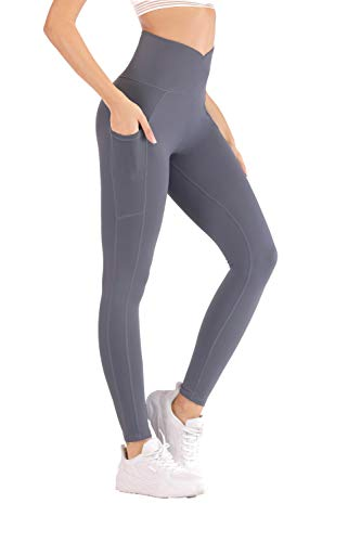 Redqenting Women High Waisted Seamless Leggings Squat Proof Yoga Pants for Women with Pockets Blue