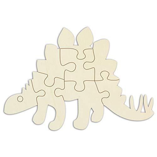 Kopieerwinkel houten puzzel blanco in de vorm van een dinosaurus zelf vormgeven en beschilderen, lege puzzel