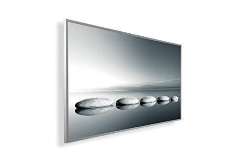 Könighaus Fern Infrarotheizung – Bildheizung in HD Qualität mit TÜV/GS - 200+ Bilder -300Watt - Patentiert -Weißer_Rahmen(128. Steine Weg auf Wasser) Black Edition