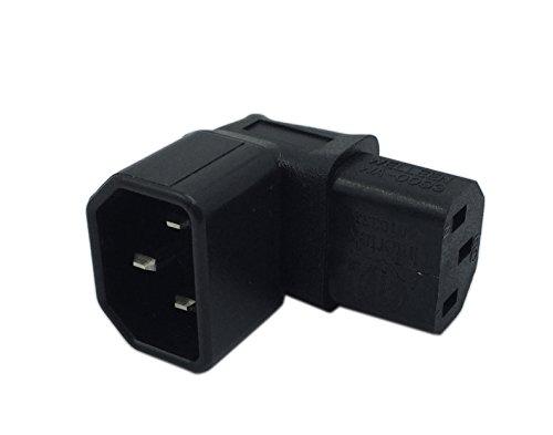 CERRXIAN Adaptador de extensión de alimentación para UPS de ángulo inferior IEC 320 C14 de 3 pines macho a C13 hembra PDU PSU de alimentación Receptáculo para soporte de pared LCD LED TV