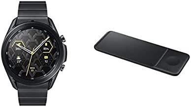 Samsung Electronics Galaxy Watch 3 Titanium (45mm, GPS, Bluetooth) Smart Watch + Wireless Charger Trio