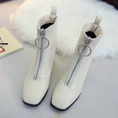 HOESCZS Talons Hauts blanc démarrageies Wild Female Spring and Autumn New Front Zipper Martin bottes Wohommes Fashion High Heeled Thick