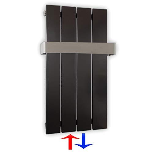 Design Paneelheizkörper Heizkörper Badheizkörper mit Mittelanschluss Handtuchstange Edelstahl alle Größen (0600 x 298, Anthrazit) (196 Watt nach EN442)