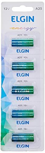 Pilha Bateria Alcalina A23 Cartela com 5 Unidades 12V, Elgin, Baterias