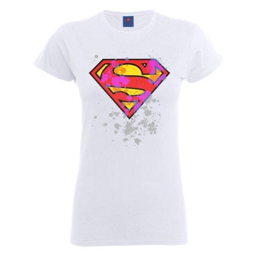 DC Comics Official Superman Splatter Logo Womens T-Shirt, Bianco (White), S Donna