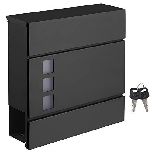 SONGMICS Briefkasten, Wandbriefkasten, modern, abschließbar, mit Zeitungsfach, einfache Montage, schwarz GMB052B01