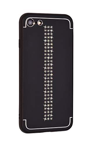 iShield Funda Lux para iPhone 8/7/SE(2020) Line con *81* Cristales Swarovski. Funda/caracasa híbrida de Aluminio Satinado con Marco de TPU Suave al Tacto. (Line Black)